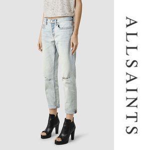 AllSaints Boys Fit Light Wash Distressed Jeans 30